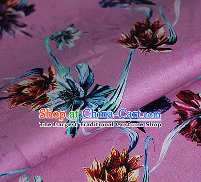 Chinese Classical Printing Flowers Pattern Design Pink Brocade Cheongsam Silk Fabric Chinese Traditional Satin Fabric Material