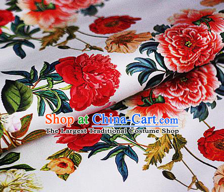 Chinese Classical Printing Peony Pattern Design White Brocade Cheongsam Silk Fabric Chinese Traditional Satin Fabric Material