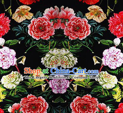 Chinese Classical Printing Peony Pattern Design Black Brocade Cheongsam Silk Fabric Chinese Traditional Satin Fabric Material