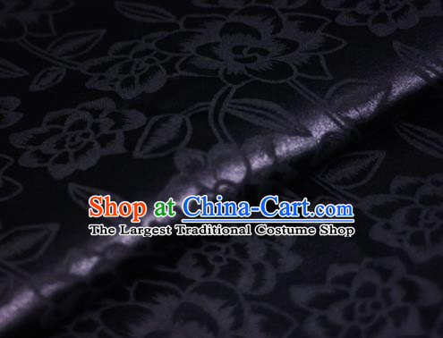 Chinese Classical Rose Pattern Black Brocade Cheongsam Silk Fabric Chinese Traditional Satin Fabric Material
