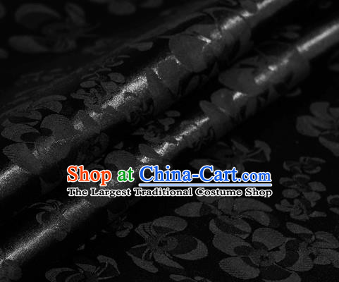 Chinese Classical Grass Pattern Black Brocade Cheongsam Silk Fabric Chinese Traditional Satin Fabric Material