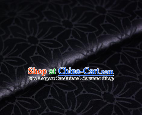 Chinese Classical Flowers Pattern Black Brocade Cheongsam Silk Fabric Chinese Traditional Satin Fabric Material