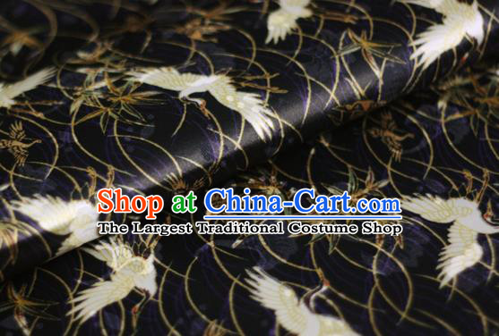 Chinese Classical Cranes Pattern Design Black Brocade Cheongsam Silk Fabric Chinese Traditional Satin Fabric Material