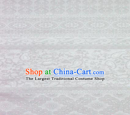 White Brocade Chinese Classical Pattern Design Satin Cheongsam Silk Fabric Chinese Traditional Satin Fabric Material