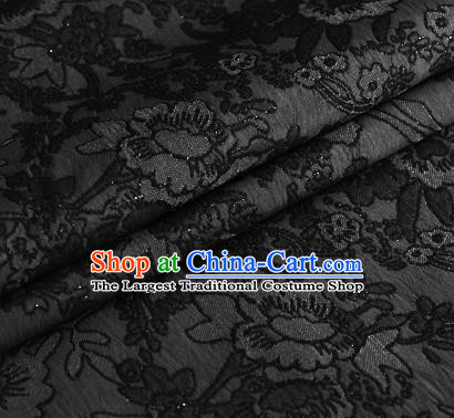 Black Brocade Chinese Classical Peony Pattern Design Satin Cheongsam Silk Fabric Chinese Traditional Satin Fabric Material