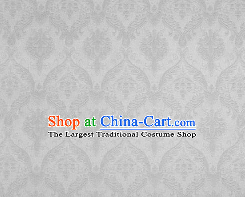Chinese White Brocade Classical Pattern Design Satin Cheongsam Silk Fabric Chinese Traditional Satin Fabric Material