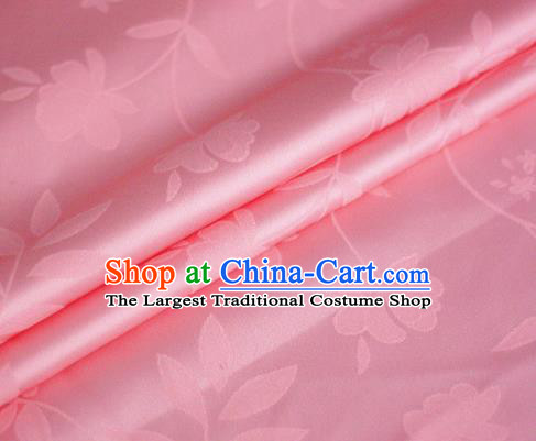 Chinese Pink Brocade Classical Flowers Pattern Design Satin Cheongsam Silk Fabric Chinese Traditional Satin Fabric Material