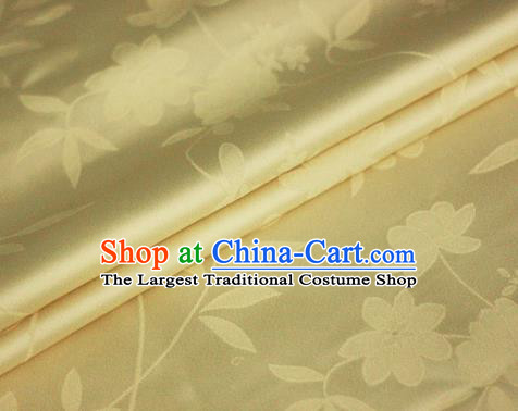 Chinese Yellow Brocade Classical Flowers Pattern Design Satin Cheongsam Silk Fabric Chinese Traditional Satin Fabric Material