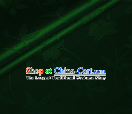 Chinese Green Brocade Classical Flowers Pattern Design Satin Cheongsam Silk Fabric Chinese Traditional Satin Fabric Material