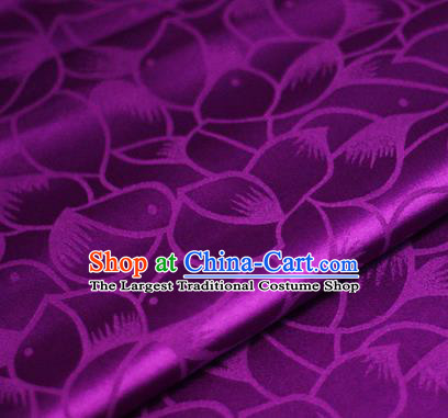 Chinese Classical Petals Pattern Design Purple Brocade Satin Cheongsam Silk Fabric Chinese Traditional Satin Fabric Material