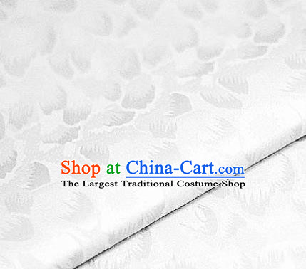 Chinese Classical Pattern Design White Brocade Satin Cheongsam Silk Fabric Chinese Traditional Satin Fabric Material