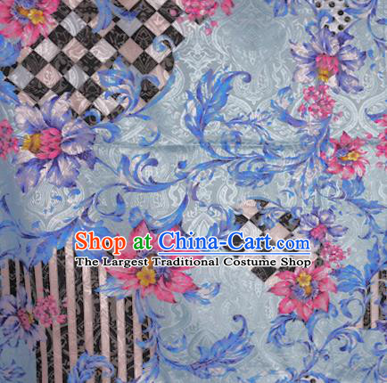 Chinese Classical Pink Flowers Pattern Design Brocade Satin Cheongsam Silk Fabric Chinese Traditional Satin Fabric Material