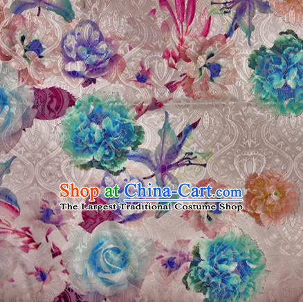 Chinese Classical Green Peony Pattern Design Brocade Satin Cheongsam Silk Fabric Chinese Traditional Satin Fabric Material
