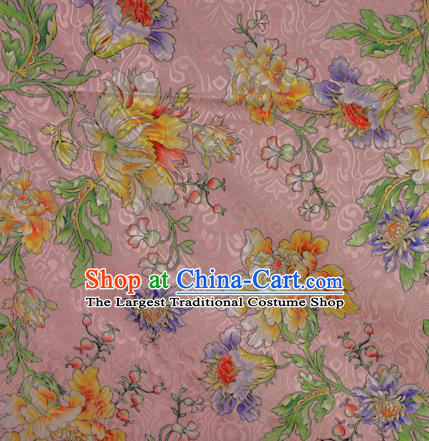 Chinese Classical Yellow Peony Pattern Design Brocade Satin Cheongsam Silk Fabric Chinese Traditional Satin Fabric Material