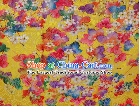 Chinese Classical Pattern Design Yellow Brocade Satin Cheongsam Silk Fabric Chinese Traditional Satin Fabric Material