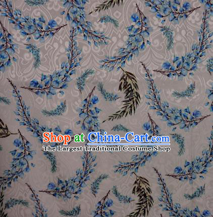 Chinese Classical Wisteria Pattern Design White Brocade Satin Cheongsam Silk Fabric Chinese Traditional Satin Fabric Material