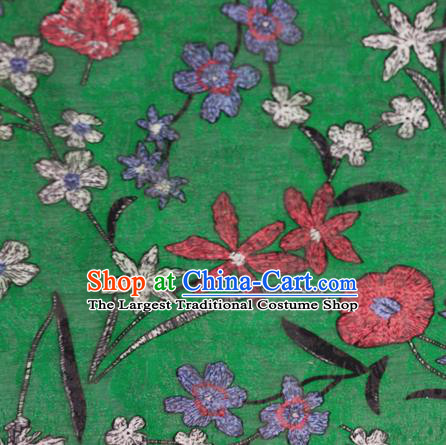 Chinese Classical Pattern Design Green Brocade Satin Cheongsam Silk Fabric Chinese Traditional Satin Fabric Material