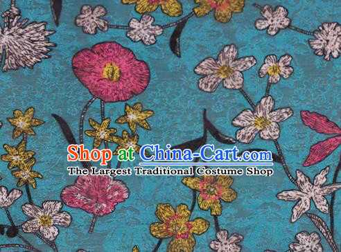 Chinese Classical Pattern Design Blue Brocade Satin Cheongsam Silk Fabric Chinese Traditional Satin Fabric Material