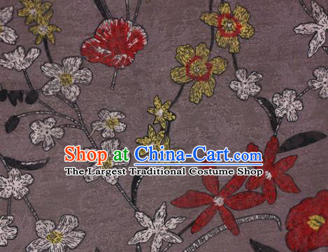 Chinese Classical Pattern Design Grey Brocade Satin Cheongsam Silk Fabric Chinese Traditional Satin Fabric Material