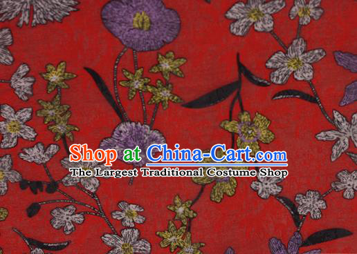 Chinese Classical Pattern Design Red Brocade Satin Cheongsam Silk Fabric Chinese Traditional Satin Fabric Material