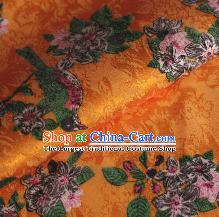 Chinese Classical Bird Flowers Pattern Design Golden Brocade Satin Cheongsam Silk Fabric Chinese Traditional Satin Fabric Material