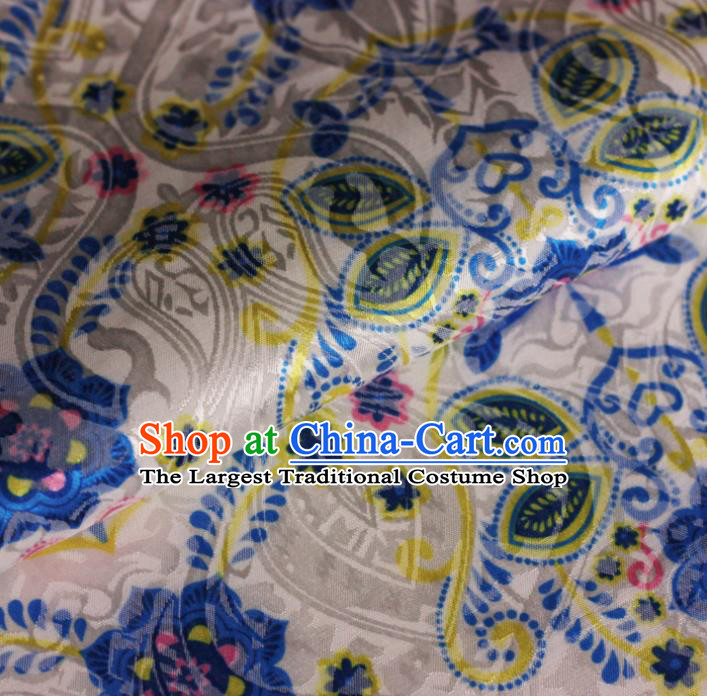 Chinese White Satin Classical Pattern Design Brocade Cheongsam Silk Fabric Chinese Traditional Satin Fabric Material
