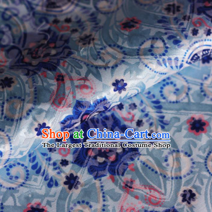Chinese Blue Satin Classical Pattern Design Brocade Cheongsam Silk Fabric Chinese Traditional Satin Fabric Material