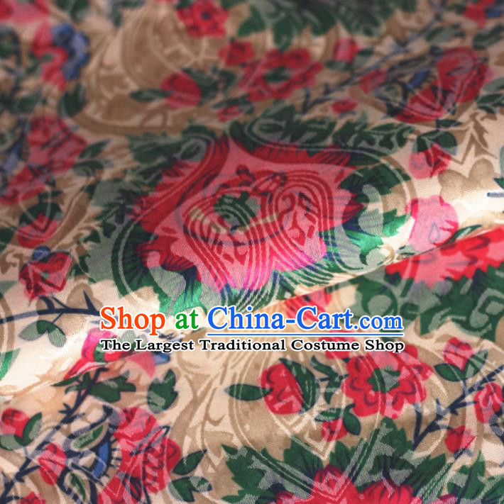 Chinese Classical Red Flowers Pattern Design Brocade Cheongsam Silk Fabric Chinese Traditional Satin Fabric Material