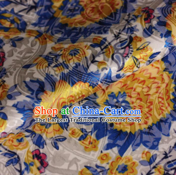 Chinese Classical Yellow Flowers Pattern Design Brocade Cheongsam Silk Fabric Chinese Traditional Satin Fabric Material