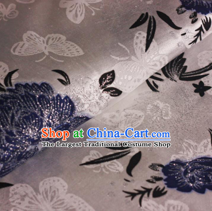Chinese Classical Blue Peony Pattern Design Brocade Cheongsam Silk Fabric Chinese Traditional Satin Fabric Material