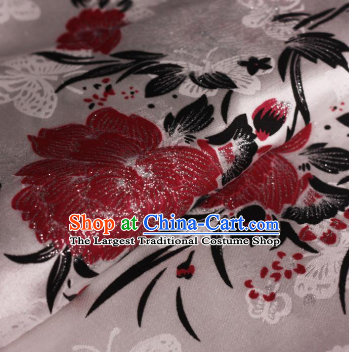 Chinese Classical Red Peony Pattern Design Brocade Cheongsam Silk Fabric Chinese Traditional Satin Fabric Material