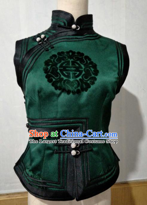 Chinese Traditional Mongolian Ethnic Green Vest Mongol Nationality Female Waistcoat Costume for Women