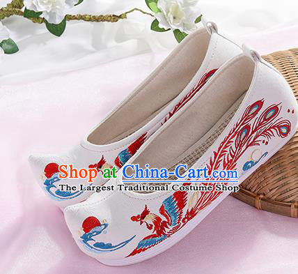 Chinese Traditional Hanfu White Shoes Embroidered Phoenix Shoes Handmade Ancient Princess Shoes for Women
