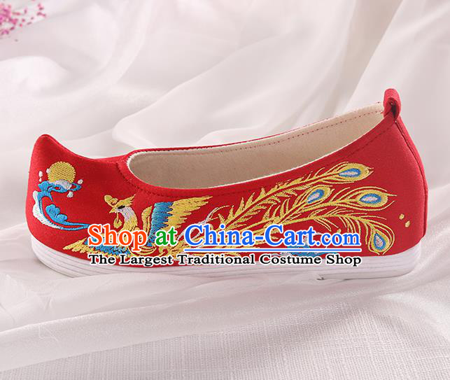 Chinese Traditional Hanfu Red Shoes Embroidered Phoenix Shoes Handmade Ancient Princess Shoes for Women