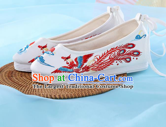 Chinese Traditional Hanfu Shoes White Embroidered Phoenix Shoes Handmade Ancient Princess Shoes for Women