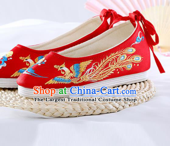 Chinese Traditional Hanfu Shoes Red Embroidered Phoenix Shoes Handmade Ancient Princess Shoes for Women