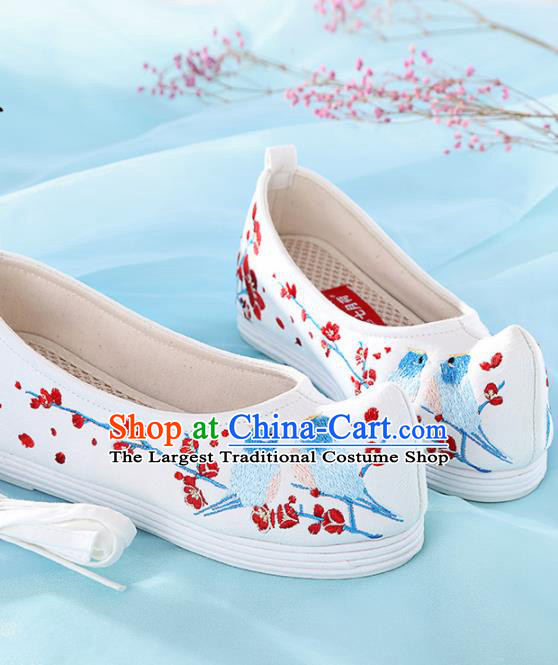 Chinese Traditional Hanfu Shoes Embroidered Plum Blossom Birds Shoes Handmade Ancient Princess Shoes for Women