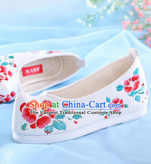 Chinese Traditional Hanfu Shoes Embroidered Red Peony Shoes Handmade Ancient Princess Shoes for Women