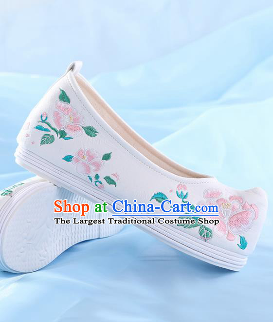 Chinese Traditional Hanfu Shoes Embroidered Pink Peony Shoes Handmade Ancient Princess Shoes for Women