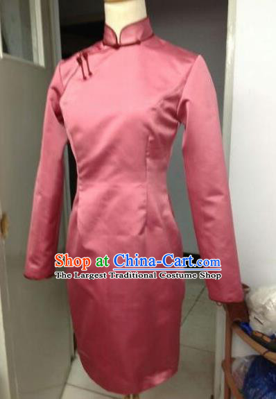 Chinese Traditional Mongolian Ethnic Costume Mongol Nationality Female Pink Dress for Women