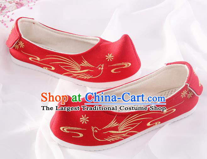 Chinese Traditional Hanfu Shoes Embroidered Bird Red Shoes Handmade Ancient Princess Shoes for Women