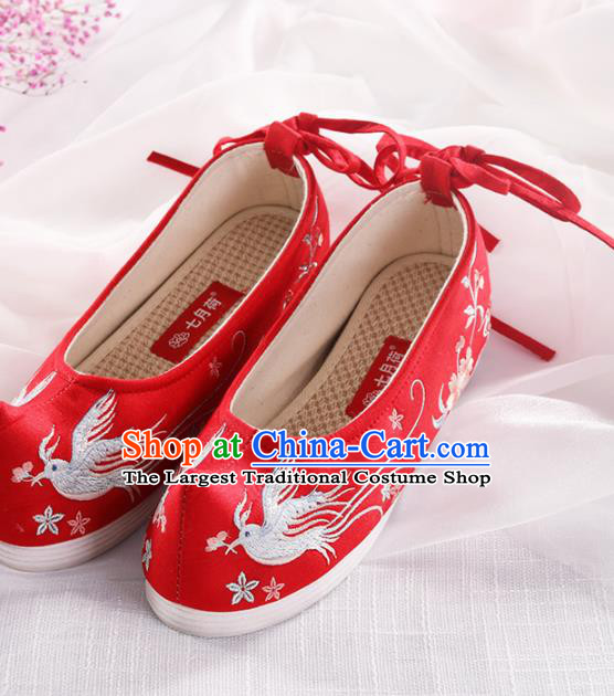 Chinese Traditional Hanfu Shoes Embroidered Birds Red Shoes Handmade Ancient Princess Shoes for Women