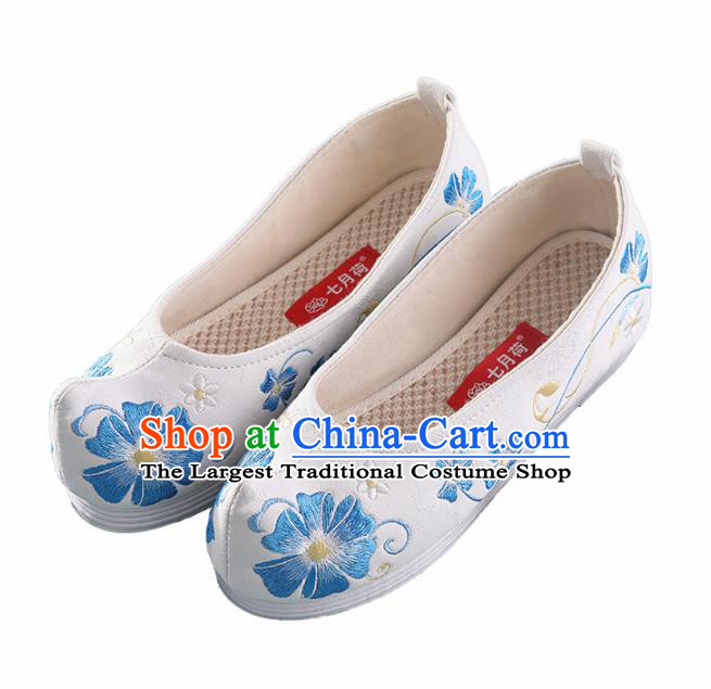 Chinese Traditional Hanfu Shoes Embroidered Flowers White Shoes Handmade Ancient Princess Shoes for Women