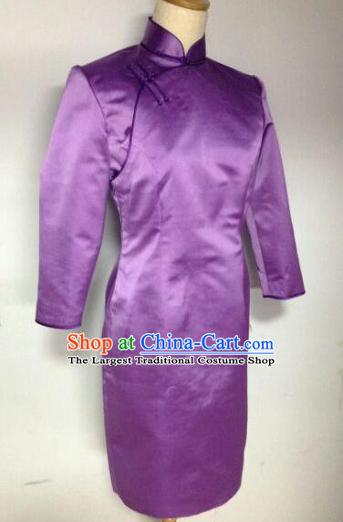 Chinese Traditional Mongolian Ethnic Costume Mongol Nationality Female Purple Dress for Women