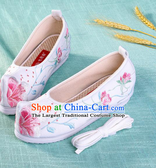 Chinese Traditional Hanfu White Cloth Shoes Embroidered Shoes Handmade Ancient Princess Shoes for Women