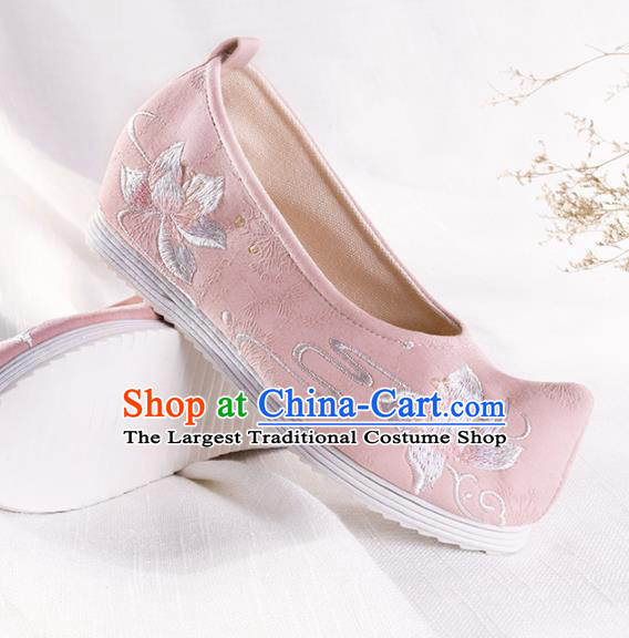 Chinese Traditional Hanfu Cloth Shoes Embroidered Pink Shoes Handmade Ancient Princess Shoes for Women