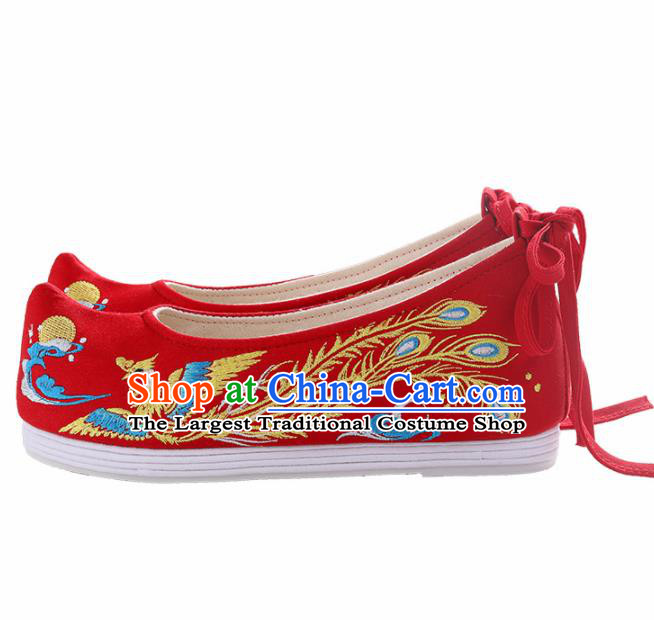Chinese Traditional Hanfu Cloth Shoes Embroidered Phoenix Red Shoes Handmade Ancient Princess Shoes for Women