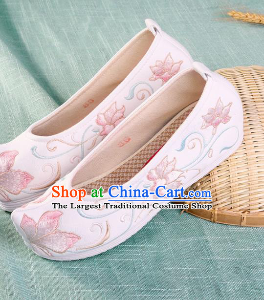 Chinese Traditional Hanfu Cloth Shoes Embroidered Lotus White Shoes Handmade Ancient Princess Shoes for Women