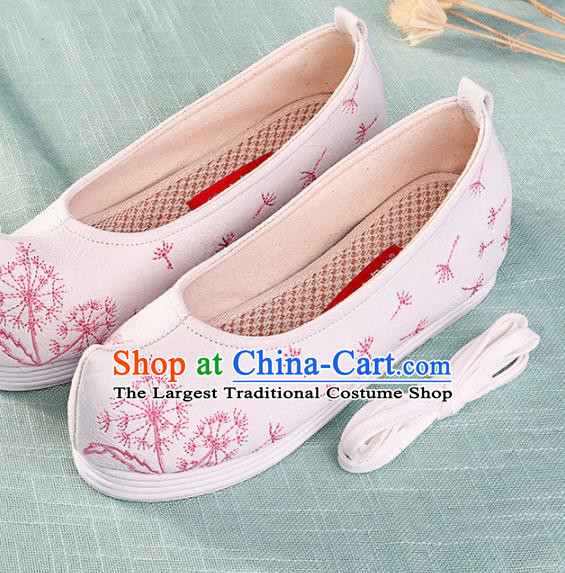 Chinese Traditional Hanfu Cloth Shoes Embroidered Dandelion White Shoes Handmade Ancient Princess Shoes for Women