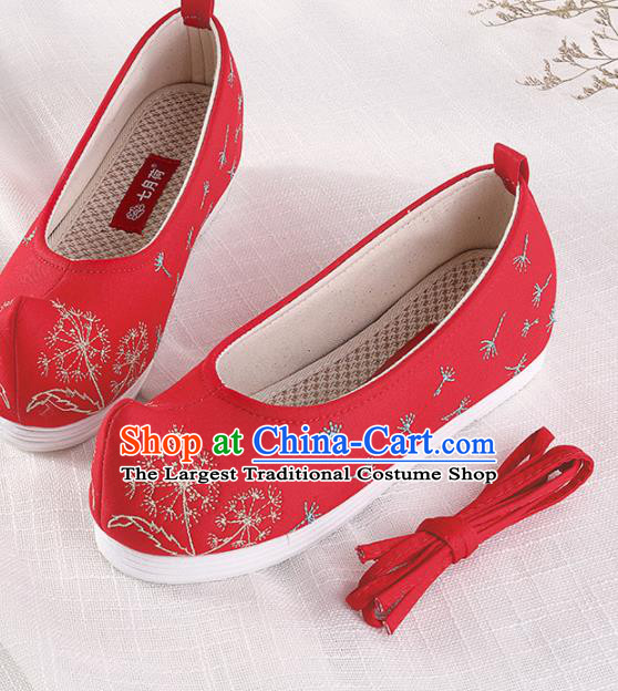Chinese Traditional Hanfu Cloth Shoes Embroidered Dandelion Red Shoes Handmade Ancient Princess Shoes for Women